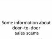 Door-to-Door Sales Scams